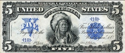 five dollar bill with a native american